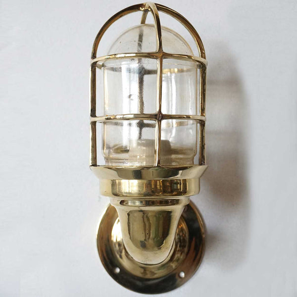 Vintage Style Brass Caged Swan Neck Ship's Passageway Sconce Light (8 available)