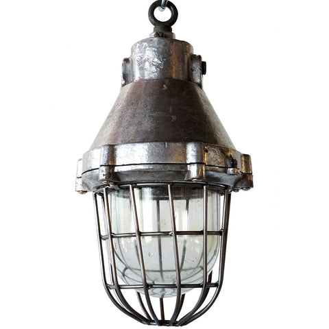Vintage Industrial Aluminum and Iron Caged Pendant Light