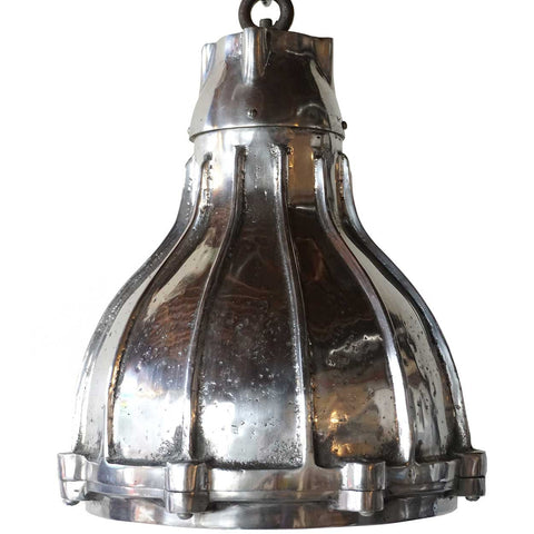 Vintage Style Industrial Heavy Aluminum Hanging Ribbed Pendant Light