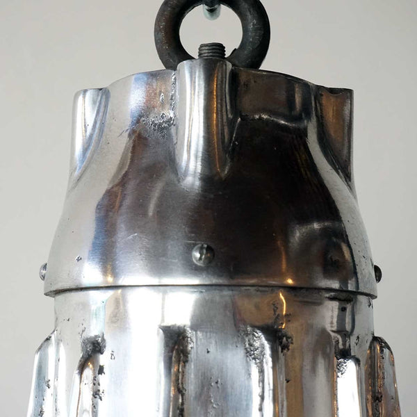 Vintage Style Industrial Heavy Aluminum Hanging Ribbed Pendant Light (1 available)