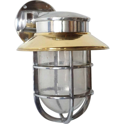 Vintage Style Industrial Aluminum Brass Shade Wall Mount Caged Sconce Ship's Light