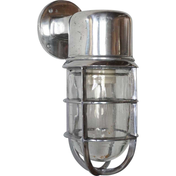 Vintage Style Industrial Aluminum Caged Bracket Sconce Ship's Light