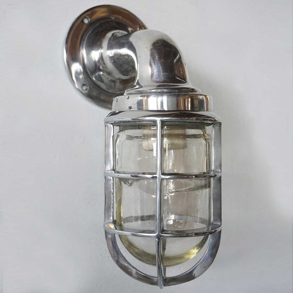 Vintage Style Industrial Aluminum Caged Bracket Ship's Passage Sconce Light
