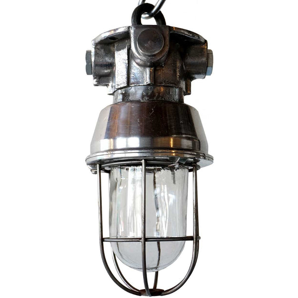 Small Vintage Style Industrial Aluminum Caged Ceiling Pendant Light (3 available)