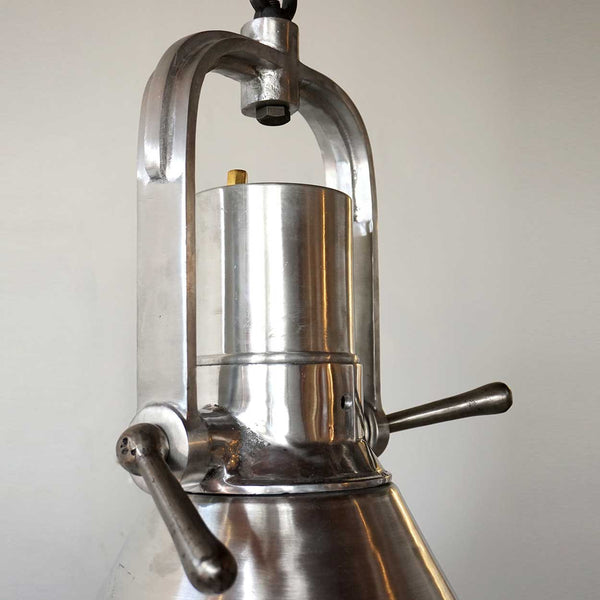 Vintage Style Industrial Heavy Aluminum and Brass Hanging Pendant Light (1 available)