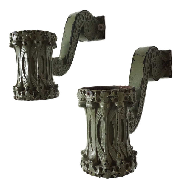 Rare Pair of American Sullivanesque Painted Cast Iron Elevator Indicator Sconces