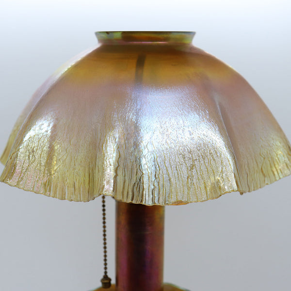 American Tiffany Studios Gold Favrile Glass Candlestick Table Lamp with Insert and Shade