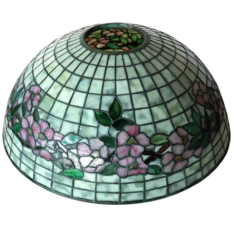 American Tiffany Studios Dogwood Leaded Glass Table Lamp Shade