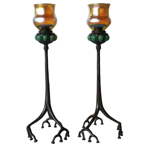 Pair of American Tiffany Studios Bronze Favrile Glass Shade Root Candlesticks