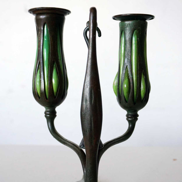 Pair of American Tiffany Studios Reticulated Glass and Bronze Fleur-de-Lys Candlesticks