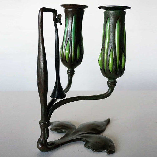 Pair American Tiffany Studios Reticulated Glass and Bronze Two-Light Candlesticks and Snuffers