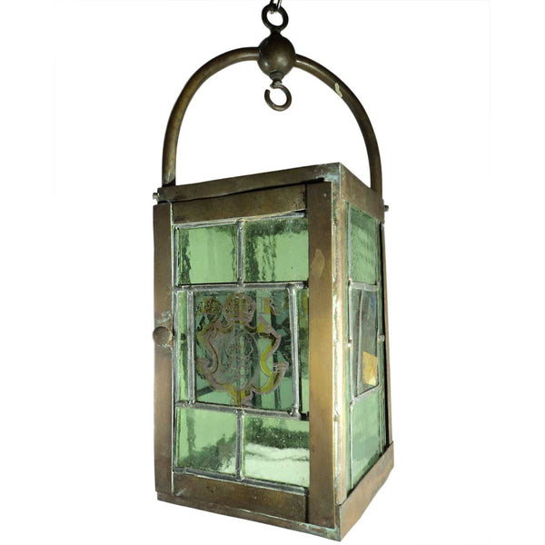 English Edwardian Leaded, Painted Glass and Brass Armorial Hanging Lantern