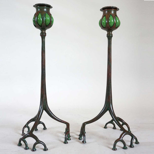 Pair of American Tiffany Studios Bronze and Reticulated Glass Root Candlesticks