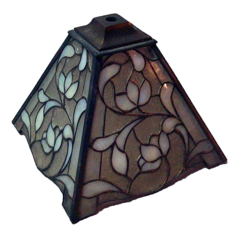 American Unique Art Glass & Metal Co. Leaded Slag Glass Floral Sconce Lamp Shade