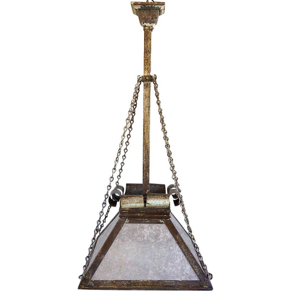 American Arts and Crafts Wrought Iron and Mica One-Light Pendant Lantern