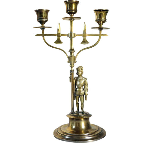 French Renaissance Revival Brass Figural Three-Light Candlestick