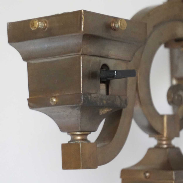 American Craftsman Brass Two-Light Up-and-Down Stairway Sconce Wall Light