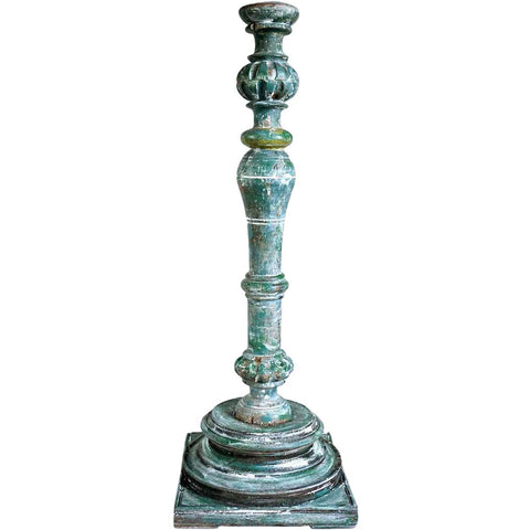 Large Indo-Portuguese Green Painted Teak Baluster Candlestick