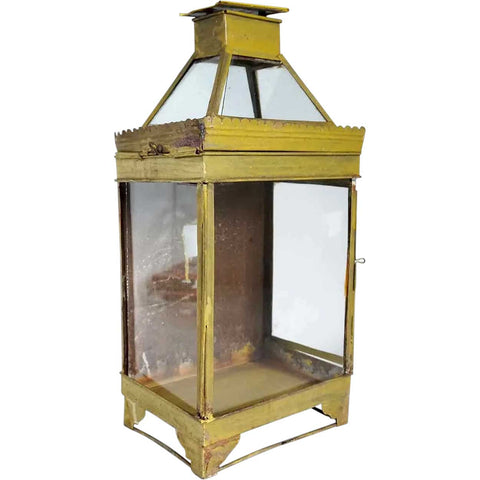 Anglo Indian Yellow Painted Toleware Wall Lantern