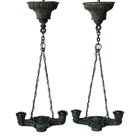 Pair of Small Greek Revival Patinated Bronze Two-Light Hanging Pendant Lamps