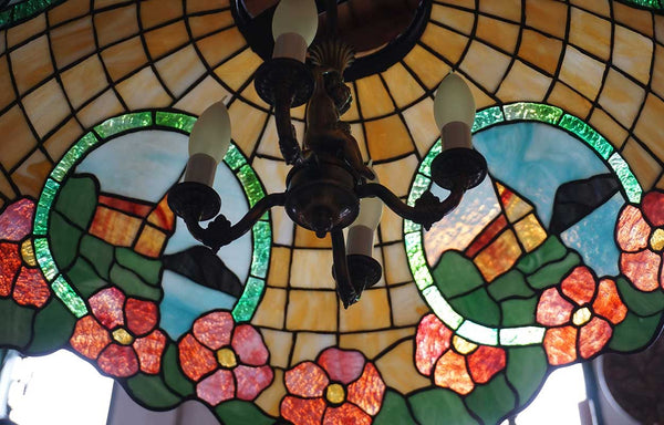American Leaded Glass Floral Four-Light Dome Pendant Light