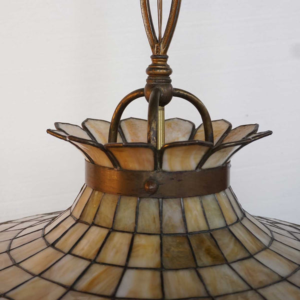 American Leaded Bent Glass Windmill One-Light Pendant Ceiling Light Fixture