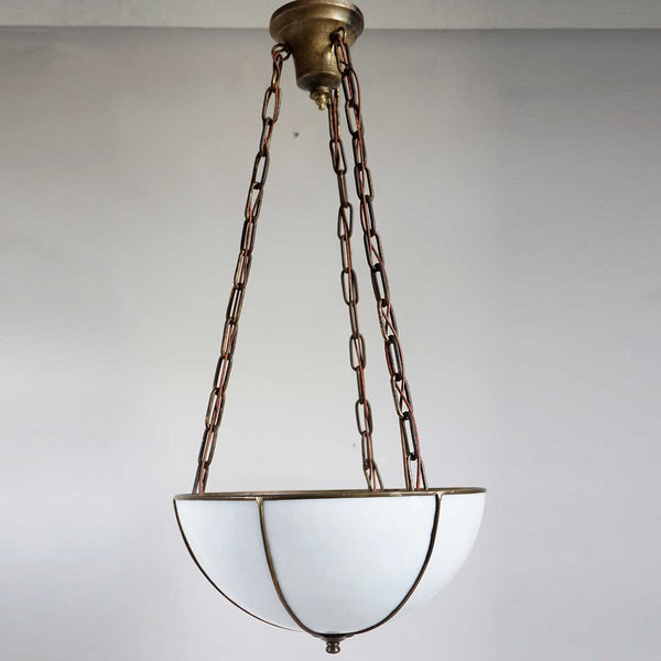 American Arts and Crafts Bent Glass Copper Foil Inverted Dome Three-Light Pendant Light