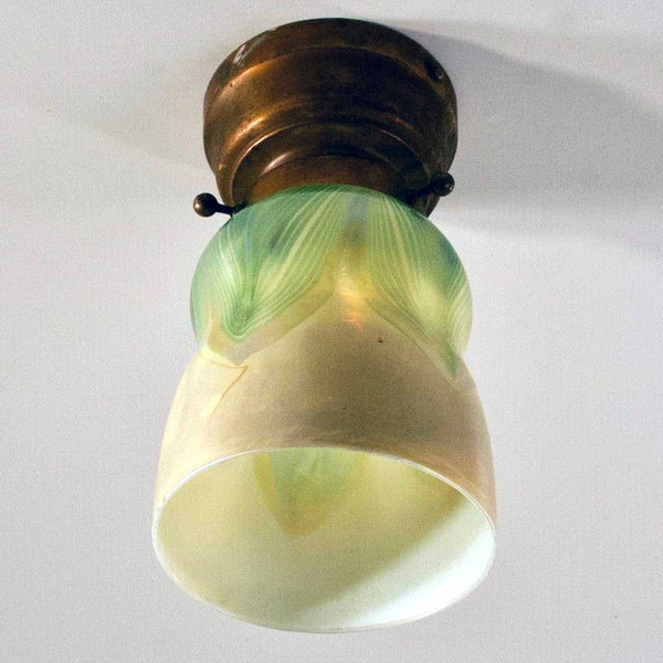 American Tiffany Studios Favrile Glass Pulled Green Feather Ceiling Light Fixture