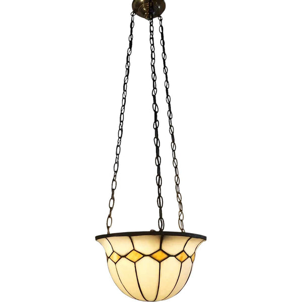 American Arts and Crafts Leaded Bent Slag Glass Three-Light Pendant Light