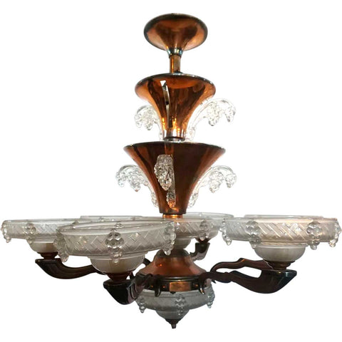 French Atelier Petitot and Ezan Art Deco Opalescent Glass Six-Arm Icicle Copper Plated Bronze Chandelier