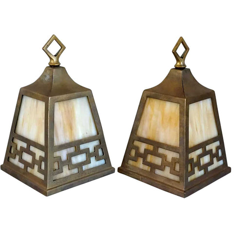 Pair American Albert Sechrist Arts & Crafts Patinated Brass and Glass Pendant Hall Light Shades