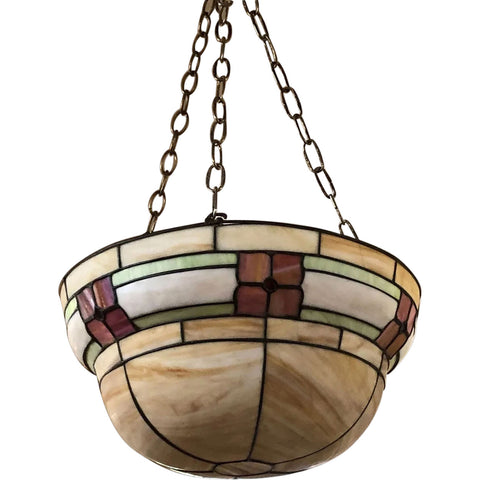 American Arts and Crafts Leaded and Stained Bent Glass Bowl-Form Hanging Light