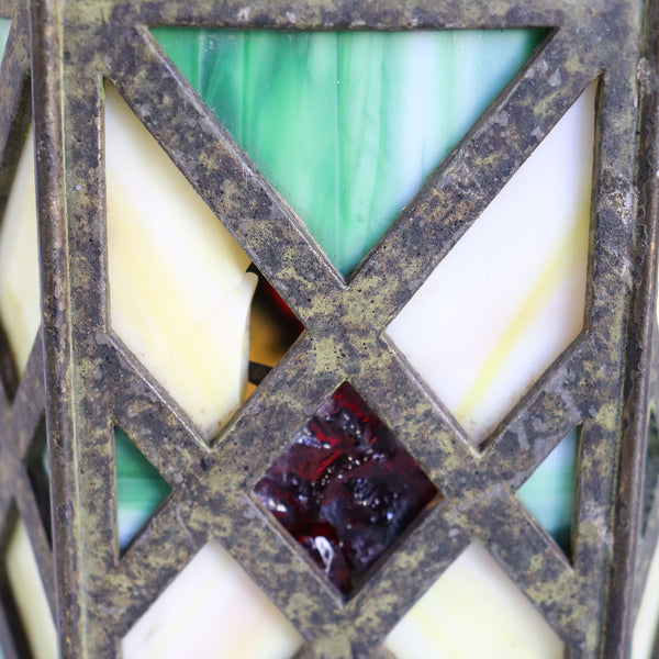American Arts and Crafts Slag and Jeweled Glass Hexagonal Lamp Shade