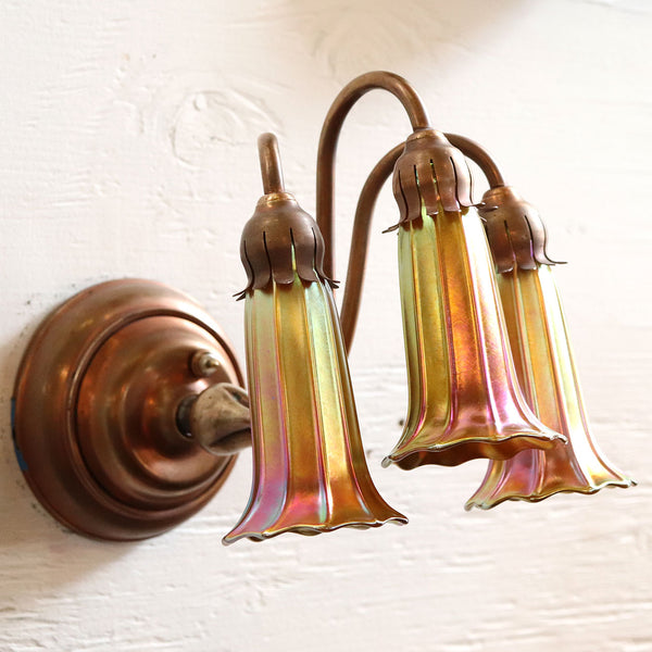 American Quezal Art Nouveau Iridescent Gold Glass Lily Shade 3-Light Wall Sconce