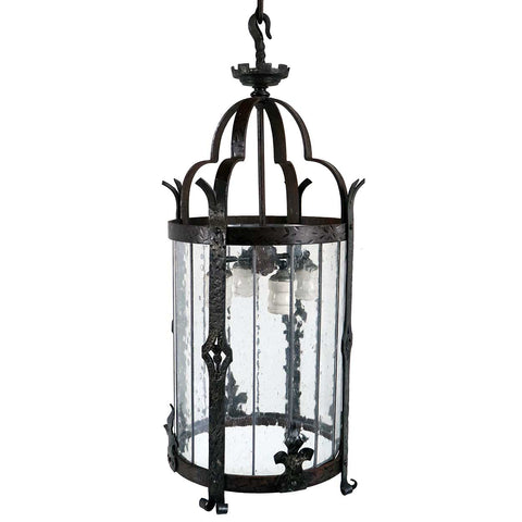 Large American Albert Sechrist Wrought Iron and Glass Four-Light Pendant Lantern