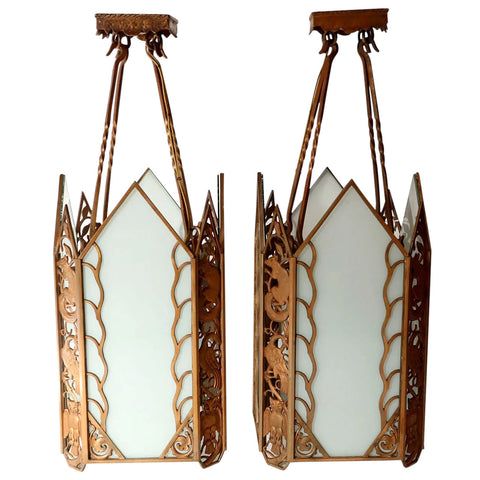 Pair of American Albert Sechrist Art Deco Cast Bronze and Flashed Glass Pendant Lights