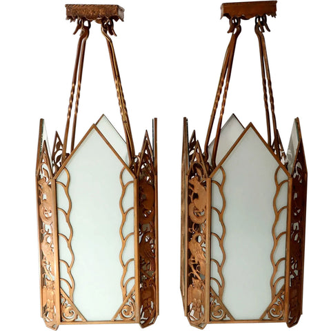 Pair American Albert Sechrist Art Deco Bronze and White Flashed Glass Four-Light Pendant Lights