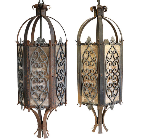 Pair of American Albert Sechrist Gothic Revival Bronze and Mica One-Light Pendant Lanterns