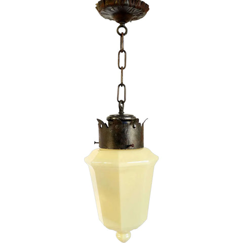 American Albert Sechrist Iron Mounted Opaline Custard Glass One-Light Pendant Light