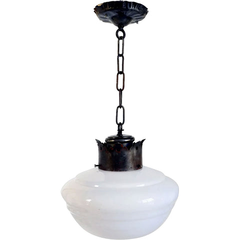 American Albert Sechrist Iron Mounted White Glass Schoolhouse Globe Pendant Light