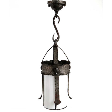 American Albert Sechrist Gothic Revival Wrought Iron and Glass One-Light Pendant Light