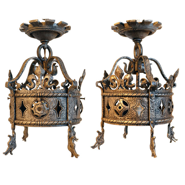 Pair American Albert Sechrist Gothic Revival Hammered Iron Pendant Lights