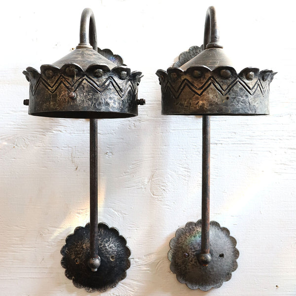 Pair of American Albert Sechrist Gothic Revival Hammered Iron Bracket One-Light Wall Sconces