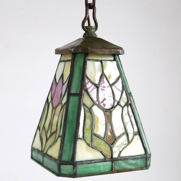 American Arts and Crafts Leaded Stained Glass Tulip Pattern Pendant One-Light Hall Light