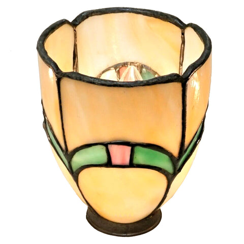 American Leaded and Stained Bent Glass Lamp Shade