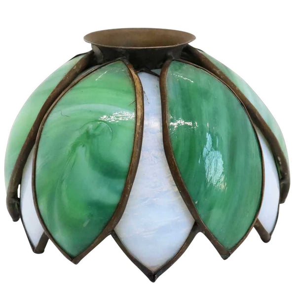 American Handel Brass Came and Curved Glass Pond Lily Lamp Shade