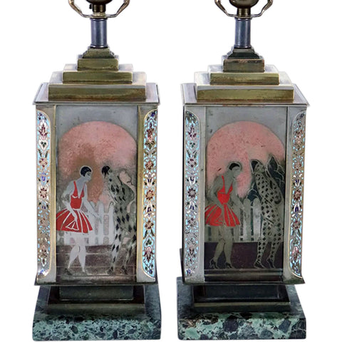 Pair French Art Deco ANDRE DESGRANGES Champleve and Lacquer One-Light Table Lamps