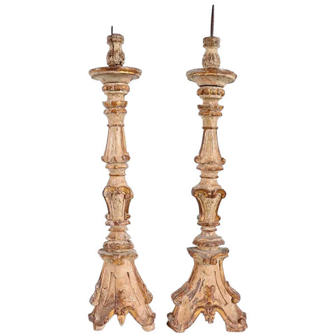 Large Pair of Indo-Portuguese Baroque Gilt Teak Pricket Candlesticks