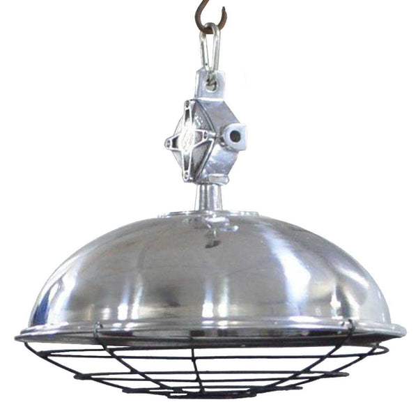 German Vintage Style Industrial Aluminum Shade and Iron Cage Hanging Pendant Light
