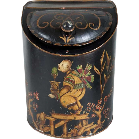 American Painted Toleware General Store Chinese Tea Canister Tin